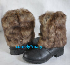 20cm Grey Wolf  faux fur funky leg warmers boots cover club dance shoes