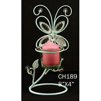 Decorative White Butterfly Design Metal Centerpiece Candle Holder Wedding Wire