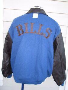 05f6b9f2 Details about Vintage Buffalo Bills Leather Gridiron Classic Varsity  Letterman Jacket Mens L