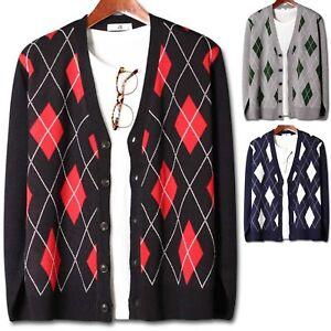 Top de suéter Cardigan E074 Argyle hombre chaqueta Jumper abrigo Knit elegante para Nuevo Blazer Ywxvqf7w