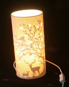 Deer stags and birds country scene table lamp or bedside lamp ebay image is loading deer stags and birds country scene table lamp mozeypictures