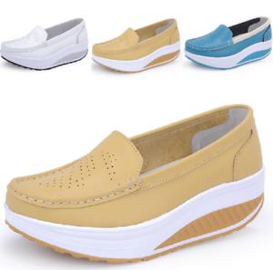 Damen Rund Toe Wedge Low Heel Schuhe Platform Krankenschwester Loafer gr.34-41