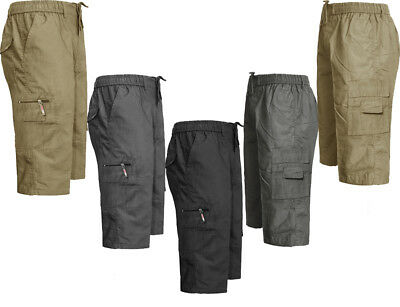 Mens Elasticated Cargo Shorts 3/4 Casual Combat Pant Cargo Size M-3xl