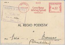 56982 - REGNO - STORIA POSTALE : Annullo ROSSO MECCANICO su CARTOLINA - VERCELLI