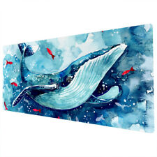 90x40cm Extra Large Xxl Mouse Mat Pad Full Desk Blue Watercolour Whale Red