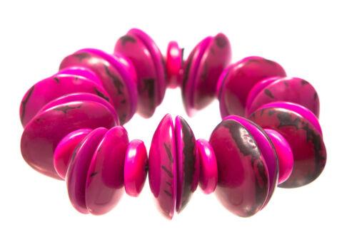 shaped discs Tagua Fair Trade elasticated chunky colourful bracelet