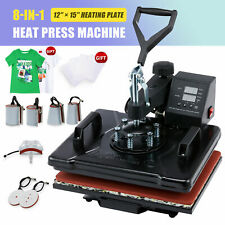 8 In 1 T Shirt Heat Press Machine W 12x15 Heat Pad For Shirts Cups Plates More