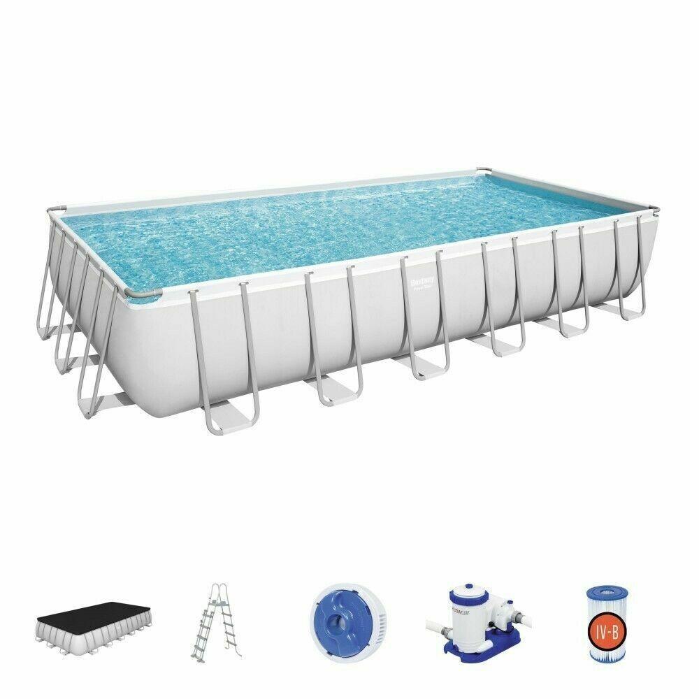 Bestway 56475 Swimming Pool 24FT Rectangular Power Steel 732 x 366 x 132 cm