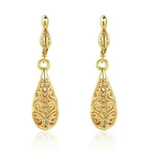 1-6-034-Drop-Leverback-Earrings-14k-Yellow-Gold-Plated-Crystal-Cut-ITALIAN-MADE