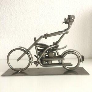 Motorradfahrer-Skulptur-Metall-Kunstwerk-modern-Unikat