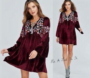 VELZERA PLUS SIZE VELVET BURGUNDY FLORAL BOHO GYPSY DRESS TUNIC ...