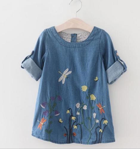 Korean Fashion Kids Baby Girls Long Sleeve Denim flower Dress Casual Clothes