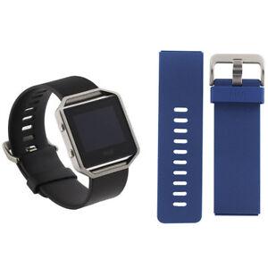 FitBit Blaze Smart Fitness Watch Small Black and Blue Bands FB502SBKS Bundle