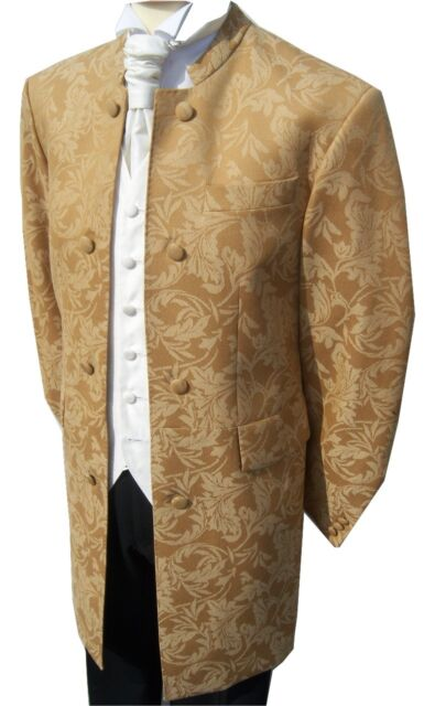 STEAM PUNK STEAMPUNK MENS GOLD BROCADE NEHRU WEDDING DRESS SUIT JACKET COAT