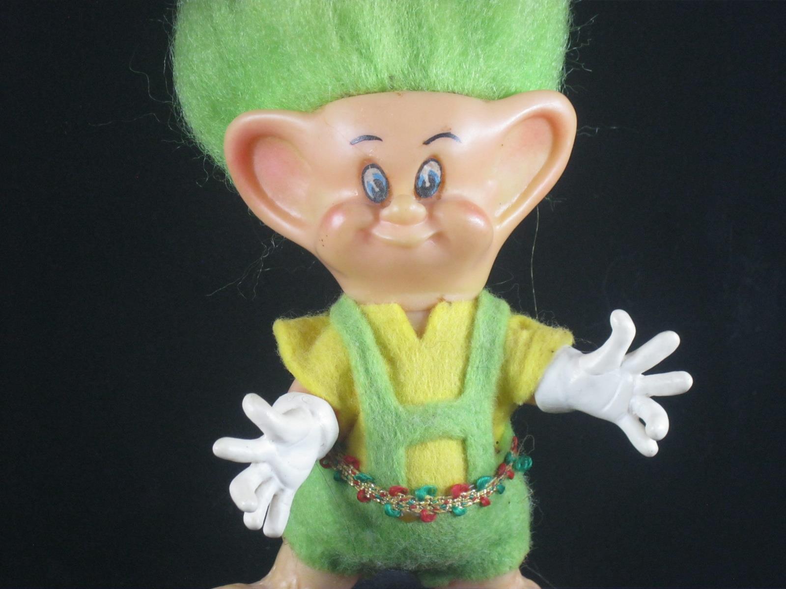 1973 4.5  VHTF RDF Vintage Hobbit Troll Pelo verde En Traje Original u548