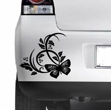 3x BUTTERFLY FLOWER STICKER Car Bumper Van Window Wall Laptop JDM VINYL DECALS