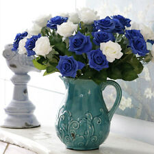 Artificial Silk Fake Rose Flowers Wedding Party Home Bouquet Decor 10 Colours