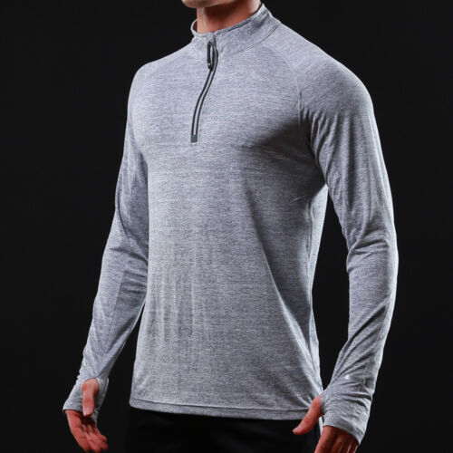 Men Athletic Elastic Long Sleeved Hooded Reflective Fast Dry Shirt Sport Top H4