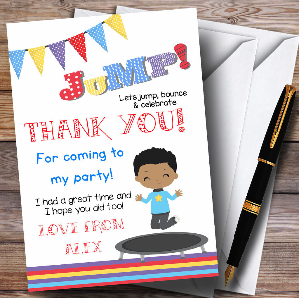 Dark Skinned Boy Trampoline Party Thank You Cards