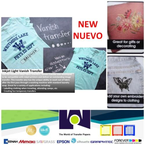 """Vanish Inkjet Transfer Paper 8.5/"""" x 11/"""" 50 Sheets Great For Embroidering"""