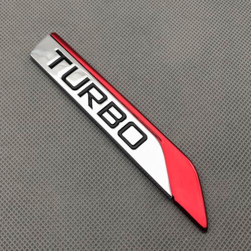 Pair Red Metal Turbo Side Wing Badge Chrome Fender Sport v6 v8 Emblem 3D Sticker