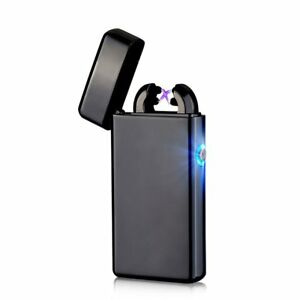 USB Electric Dual Arc Black Metal Flameless Torch Rechargeable Windproof Lighter