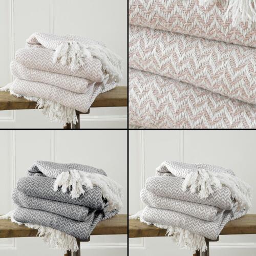 Safi Tasselled Frill Throw Blanket Fleece Herringbone Charcoal Grey Pink Natural