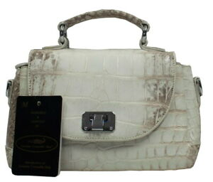 56fea7606157 Details about Authentic M Crocodile Skin Womens Belly Clutch Bag Purse  W/Strap White Locked