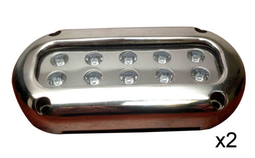 Pactrade Marine Ultra White LED Stainless Steel Underwater Light Surface Mount