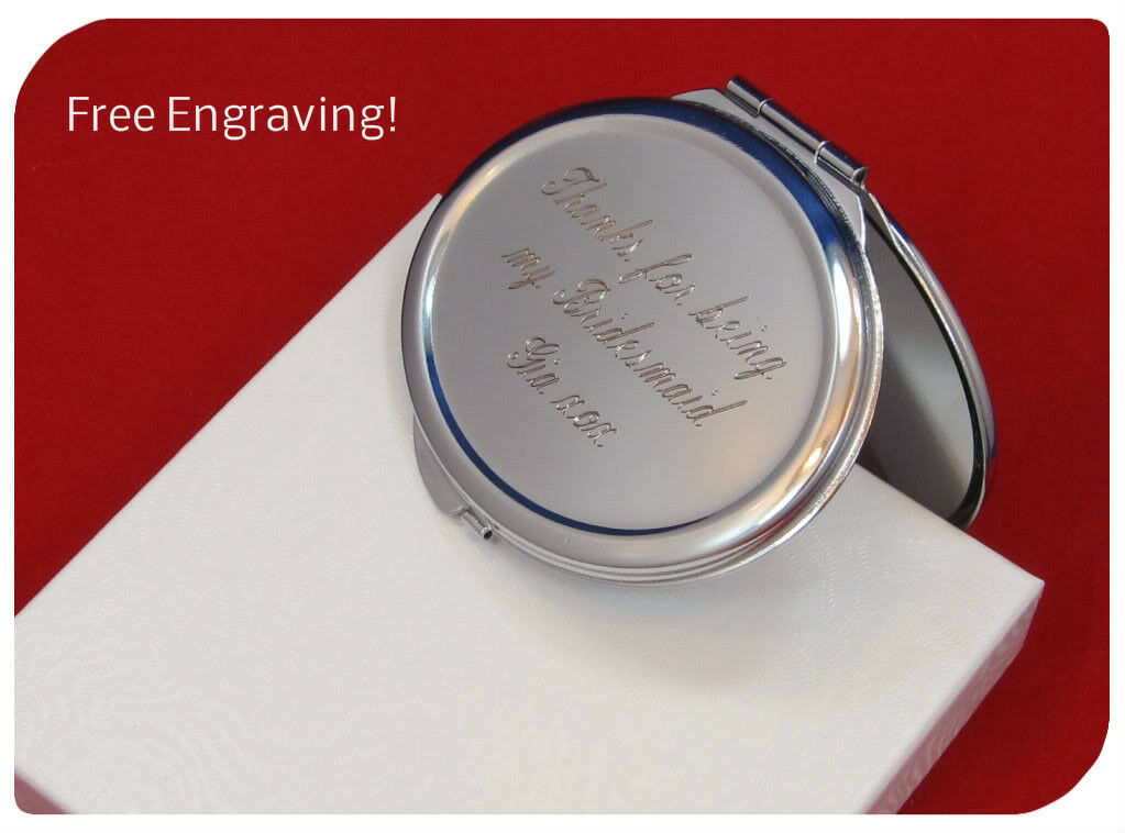 6 Personalized comact mirrors wedding favor bridesmaid gifts free engraving