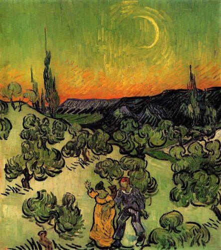 """Vincent Willem Van Gogh Landscape with Couple Walking 20/""""x26/"""" Canvas Art Print"""