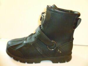 Polo-Ralph-Lauren-Conquest-HI-II-Black-Leather-Zip-Front-9-5-D-Boots-Motorcycle