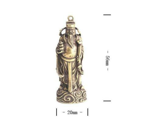 Chinese brass Carved god of wealth mini lucky Buddha statue Necklaces Pendant