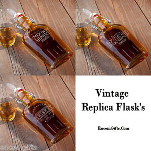 Vintage-GLASS-WHISKEY-LIQUOR-Swing-Top-FLASK-Replica-Personalized-Groomsman-Gift