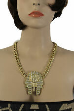 New Women Gold Metal Chain Jewelry Necklace Egyptian Pharaoh Pendant Silver Bead