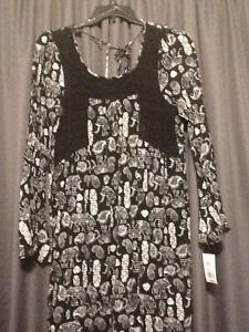Allison-Brittney-Dress-Tunic-Boho-Chic-Lace-Black-Elephant-Print-Women-Large