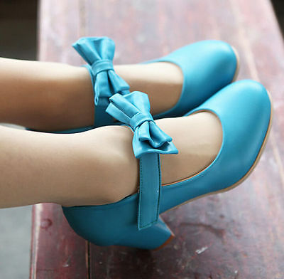 womens sweety bowknot mid block heels Plus size pu leather strappy Lolita shoes