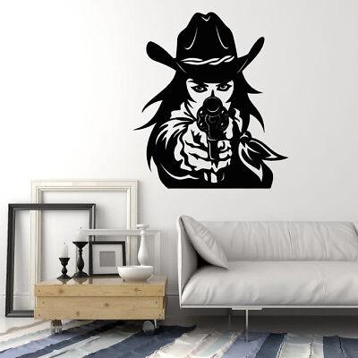 2315ig Vinyl Wall Decal Western Cowboy Hat Revolver Gun Cowgirl Stickers