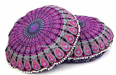 """32"""" Indian Mandala Floor Pillows Cotton Ottoman Cover Round Poufs Tapestry 2 PC"""