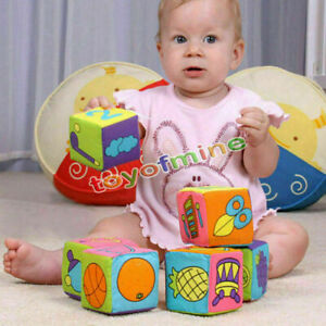 6pcs-7cm-Baby-Ring-Rattle-Educational-Plush-Toys-Soft-Building-Blocks-Cube-Cloth
