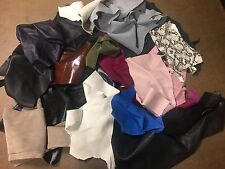 Lot of leather scraps lamb cow pig calf suede sheep goat hide skin - 13 oz