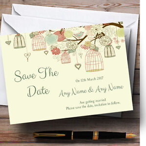 vintage birdcage pale yellow personalised wedding save the date