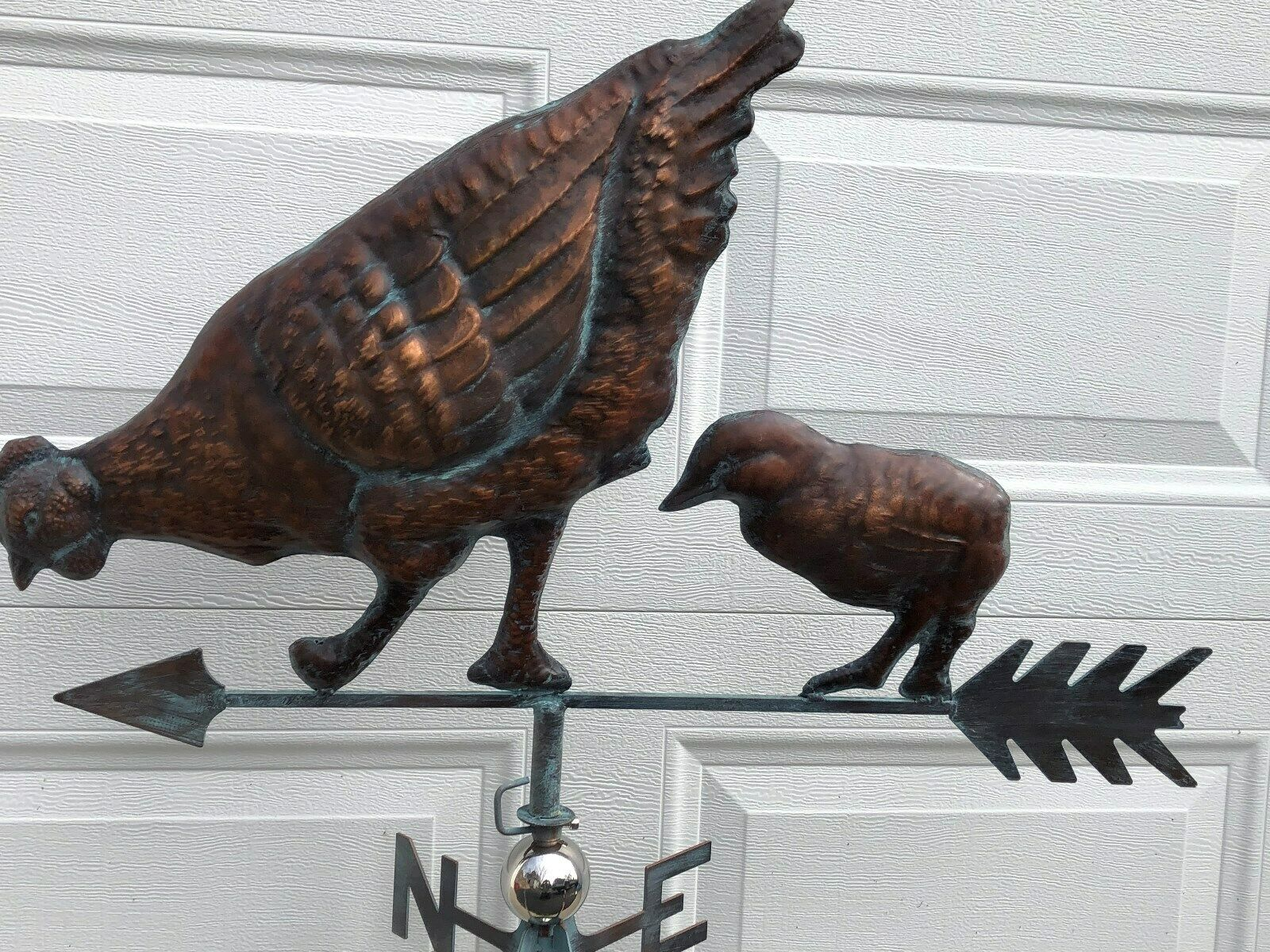 3D Chicken Chic Weathervane Ant Copper Finish Rooster Weather Vane Hand Crafted
