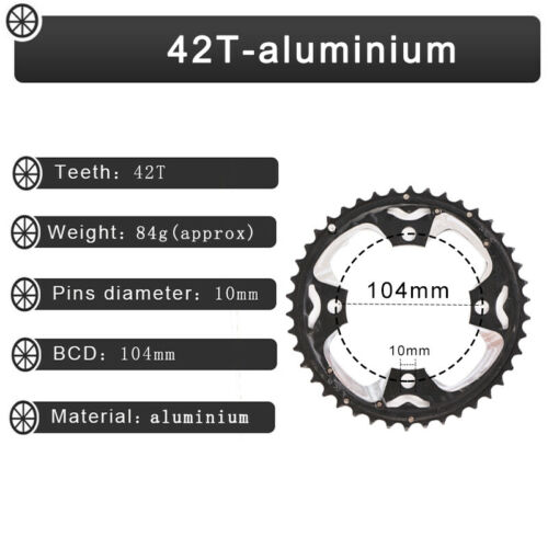 104//64BCD Double//Triple Chainring 24//26//32//38//42T Sprocket Fit Shimano//SRAM//FSA