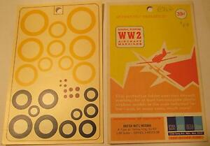 WW2-His-Air-Dec-1-48-Scale-British-National-Insignia-A-Type-Yellow-20-40-034-Decals