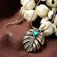 Art-Deco-Vintage-Leaf-Emerald-Green-Crystal-Antiqued-Gold-Pendant-Necklace thumbnail 1