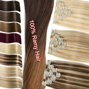 Clip-In-Remy-Real-100-Human-Hair-Extensions-Full-Head-Highlight-Long-Short-Soft