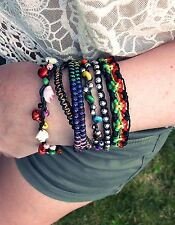 NEU 19cm ARMBAND 6-Reihig STATEMENT Blogger HIPPIE-STYLE Chunky STOFF Bunt/Neon