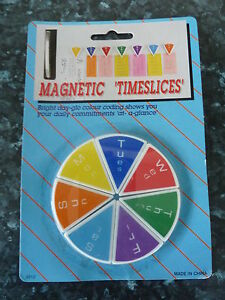 10-x-WEEKLY-PLANNER-MAGNETIC-TIME-SLICE-FRIDGE-MAGNETS-BRIGHT-DAY-GLO-COLOUR