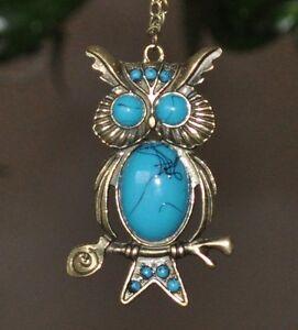 Chouette-Bleu-Turquoise-Optique-Collier-Vintage-Long-Bronze-Hibou